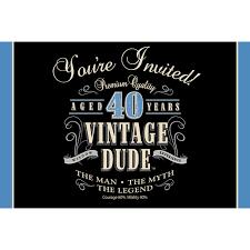 40th Birthday Invitations Vintage Dude 40th Birthday Invitations Paper Disposable Invitation