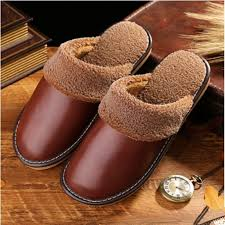 male and female genuine leather warm winter home slippers non slip thick house shoes cotton for women and men slippers pantufas thainá