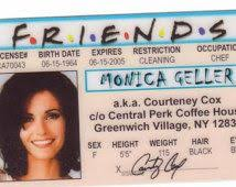 … Card Tv Drivers From Costume Fake York The 1994 Halloween Hit Courteney Friends Cox Identification Courtney Show Friends Id License Celebrity New
