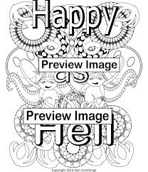 Happy As Hell Swear Word Adult Coloring Page Swear Word