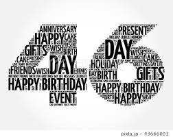 Happy 46th Birthday Word Cloudのイラスト素材 43666003 Pixta