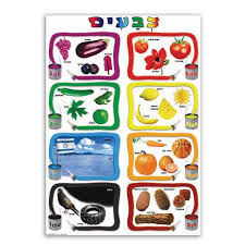Colors In Hebrew Chart Large Jewish Classroom Poster