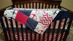 nautical baby girl crib bedding pink anchors navy dot pink chevron and navy anchor crib bedding ensemble