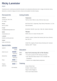 Acting Resume Template Sample Actor Resume Advice 20 Tips Best