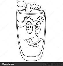 Pagina Colorare Libro Colorare Bere Bicchiere Acqua Concetto Felice