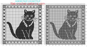 Filet Crochet Patterns Custom Free Filet Crochet Pattern Pillow With Cat 48 Squares Free Filet
