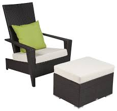 martano modern outdoor all weather wicker 2 piece stackable chair with ottoman