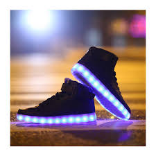 led light up midtop shoes white hightop sneaker with color changing