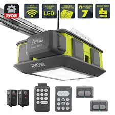 ryobi ultra quiet 2 hp belt drive garage door opener with battery backup capability