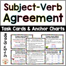 Subject And Verb Agreement Anchor Chart Subject Verb Agreement Task Cards And Anchor Charts