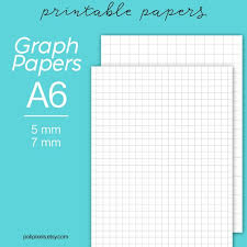 A6 Graph Paper Printable Graph Paper Digital Planner Inserts Squared Paper A6 Notebook Grid Paper Grid A6 Printable Graph Inserts
