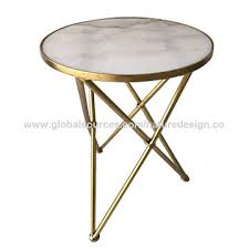 china round metal coffee table marble table top gold frame cross tripod base