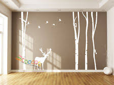 wall decor decal sticker large birch tree trunk forest 4 trees with deer 96 on silver birch wall art stickers with birch tree wall decal ebay