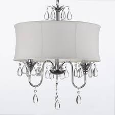white drum shade crystal ceiling chandelier pendant light fixture lighting lamp swag plug in chandelier w 14 feet of hanging chain and wire