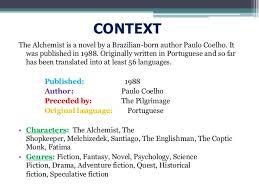 presentation on alchemist novel