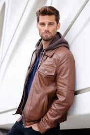 mens hoo biker style slim fit leather jacket