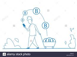 Man Using Bitcoin Mobile Application Mining Coin In Chart
