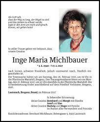 Inge Maria Michlbauer Todesanzeige Vn Todesanzeigen