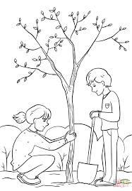 Small Picture Girl and Boy Planting a Tree coloring page Free Printable