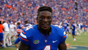 university of florida receiver brandon powell celebrating the florida gators win over the tennessee volunteers