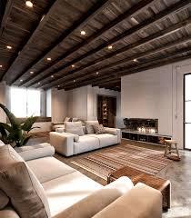 techo de madera y suelo de cemento pulido en una casa rústica