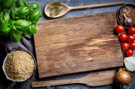 cutting board with food. Cooking Background With Old Cutting Board, Top View Stock Photo - 52173195 Board Food