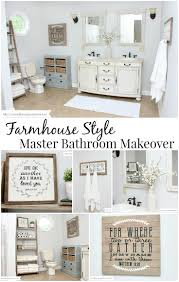 Farmhouse Style Master Bathroom Makeover Love all of this!