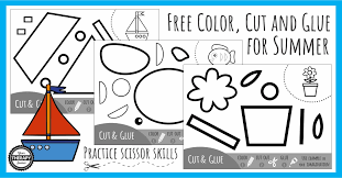 Cut and paste shape worksheet. Color Cut Glue Scissor Summer Practice Your Therapy Source