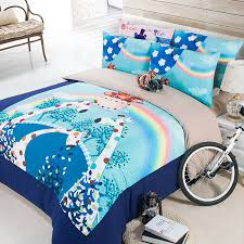 cute giraffe elephant frog panda rabbit bedding set bright color cartoon animal print duvet cover twin queen king size for kids in bedding sets from home