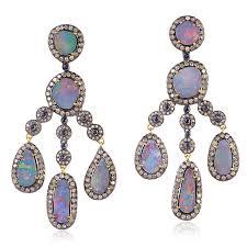 image is loading sapphire opal pave diamond chandelier earrings 18k gold