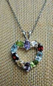 details about heart pendant necklace 925 sterling silver multi gemstone jewelry estate