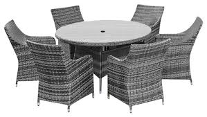rattan garden furniture lyon 6 seat 1 35 m round outdoor dining set grey