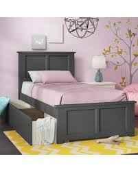 Grovelane Teen Amir Platform Bed with Drawers Size: Twin XL, Bed Frame Color: Gray from Wayfair | BHG.com Shop