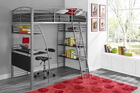 bunk beds with desk cool grey iron staining loft bed stairs set and bookcase tier