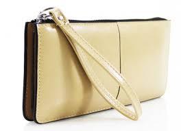 leahward navy faux leather purse double zip compartment wristlet purse