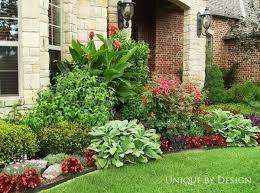 front yard garden ideas. Front Entrance Landscape On A Light Stone Color House Yard Garden Ideas
