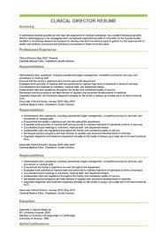 Director Sample Resume Sample Clinical Director Resume
