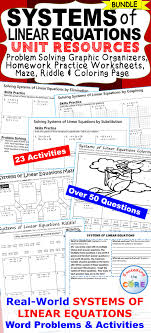 systems of linear equations homework practice graphic organizers fun puzzles math stationsword problemsgraphic