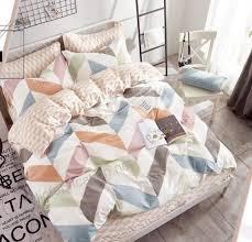 eikei home modern chevron duvet cover set blue and gray geometric design reversible zig zag printed
