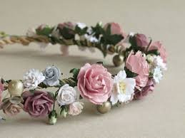 Paper Flower Headbands Old Rose Mauve Flower Crown Paper Flower Headpiece Made Of