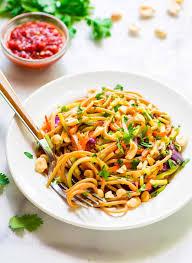 asian noodle salad with sriracha peanut dressing
