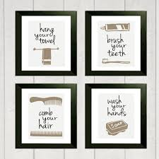 Bathroom Art Design With Four Canvas Vin E Design And Black And White Canvas