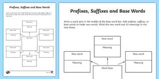 Word Study Worksheet Word Study Graphic Organiser Worksheet Prefixes Suffixes