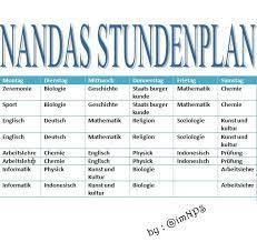 N D Puspita Contoh Jadwal Pelajaran Dalam Bahasa Jerman Stundenplan
