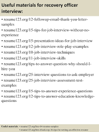 Recovery Officer Sample Resume Top 100 recovery officer resume samples 4