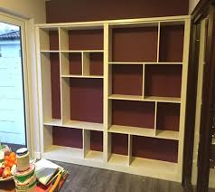 made to measure open back built in shelving unit