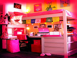 comely bedroom teenage girl design with white loft bed along pink covered bed linen also study beauteous pink blue