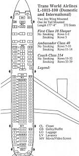 Vintage Airline Seat Map Twa L 1011 100 Tristar