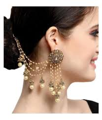 Long Heavy Earrings Design Aadita Bahubali Design Heavy Earrings With Hair Chain For