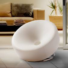 round accent chair. Modern Round White Bonded Leather Accent Chair By Christopher Knight Home G